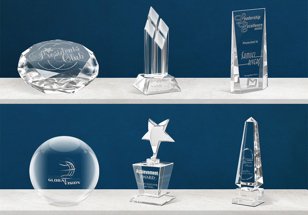 Custom Crystal Awards Laser Engraved