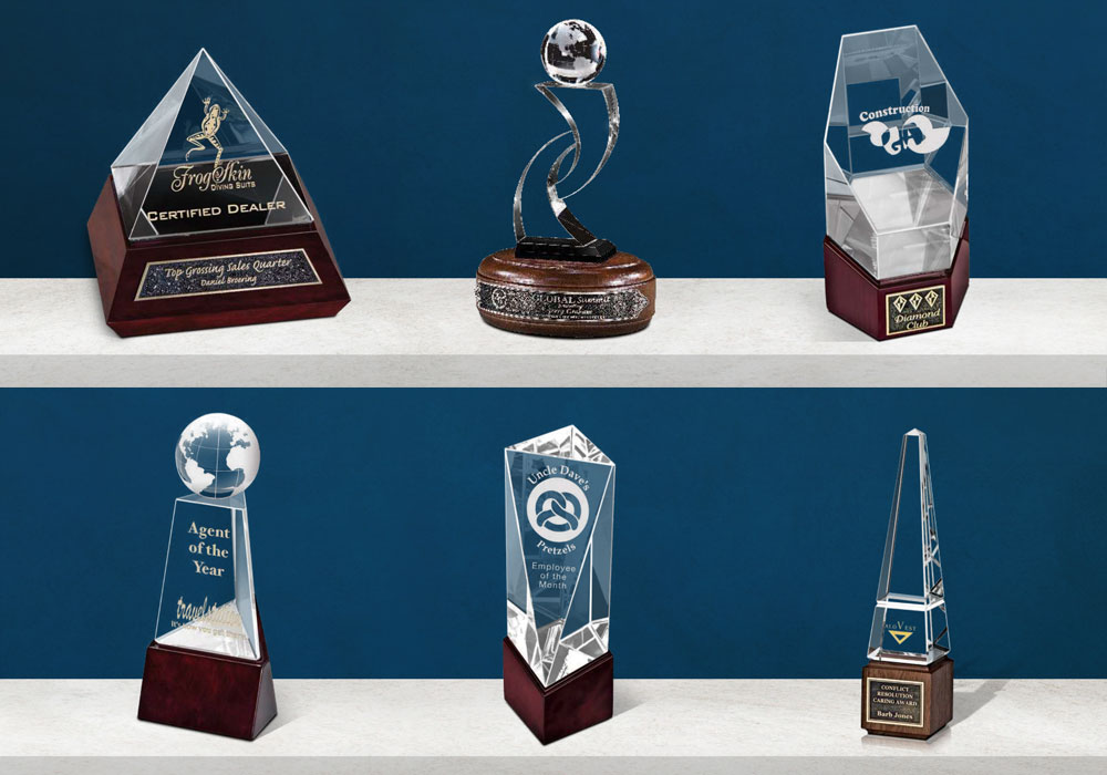 Laser Etched Custom Crystal and Wood Trophies